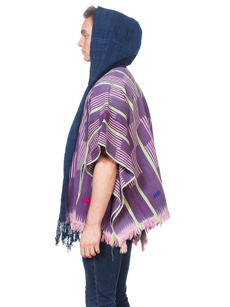 Morphew Collection Pink & Blue Indigo Cotton African Blanket Hooded Poncho