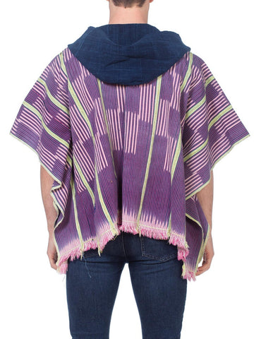 Morphew Collection Indigo Cotton African Blanket Poncho Hooded One Size Kimono