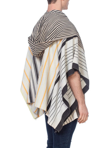 Morphew Collection Black, Ivory & Yellow Striped African Mudcloth Hooded