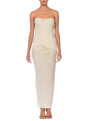 1990's Donna Karen Strapless Oyster White Jersey Gown With Built In Bustier