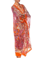 1970'S Morphew Collection Orange Silk Lurex Chiffon Christian Dior Paisley  Duster