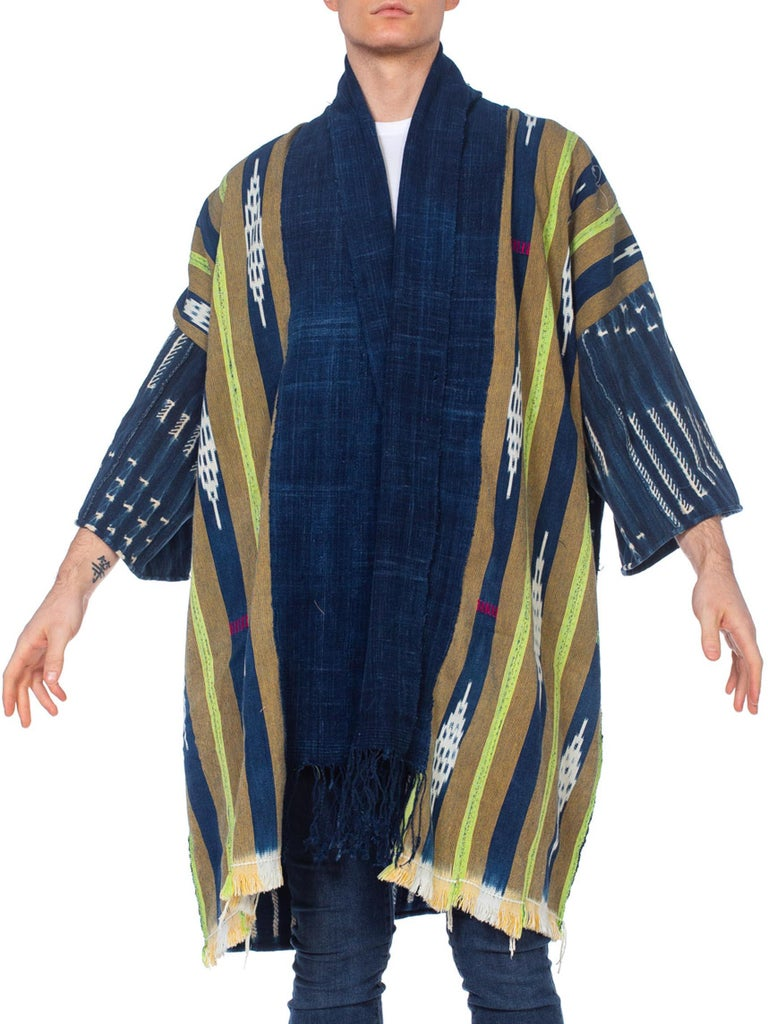 "Morphew Collection Indigo Jacket Robe With ""Hawaii"" 1970's French Nude Embroider"