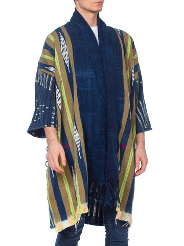 Morphew Collection Indigo Kimono With Hawaiian 1970'S French Nude Embroidery