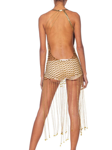 1970'S Morphew Collection Gold Metal Mesh & Beaded Chainlink Fringe Dress