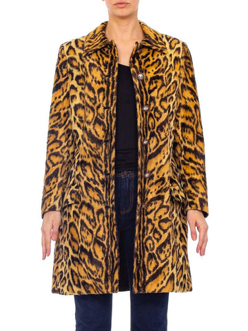 1990's GIANNI VERSACE Early 1990's Gianni Versace Couture Leopard Faux Fur Velvet Coat Coat