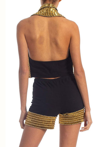 1990'S Black & Gold Cotton/Lycra Bike Shorts Halter Vest Ensemble Set Covered In Beads