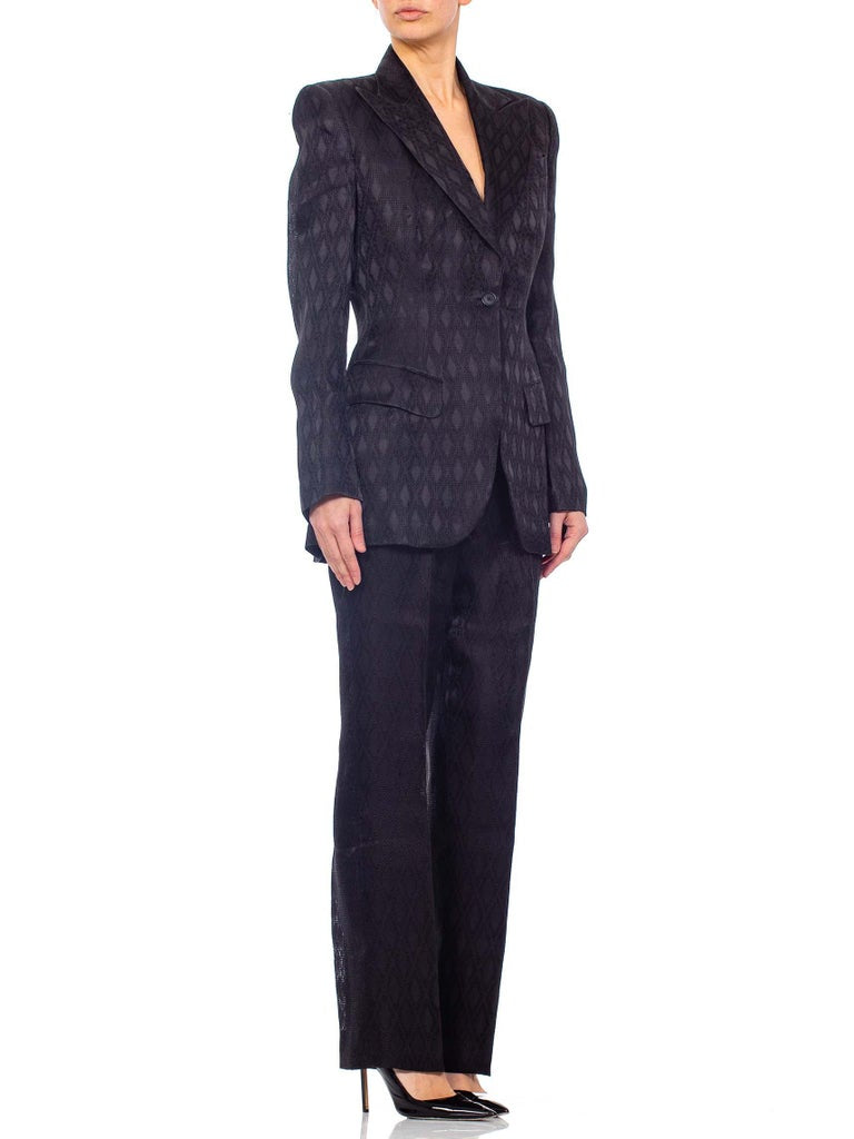 1990'S RICHARD TYLER Black Silk Couture Peak Lapel Pant Suit
