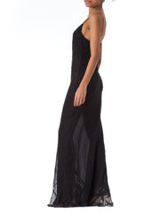 1990s Bias Cut Black Silk Beaded Strappy Gown