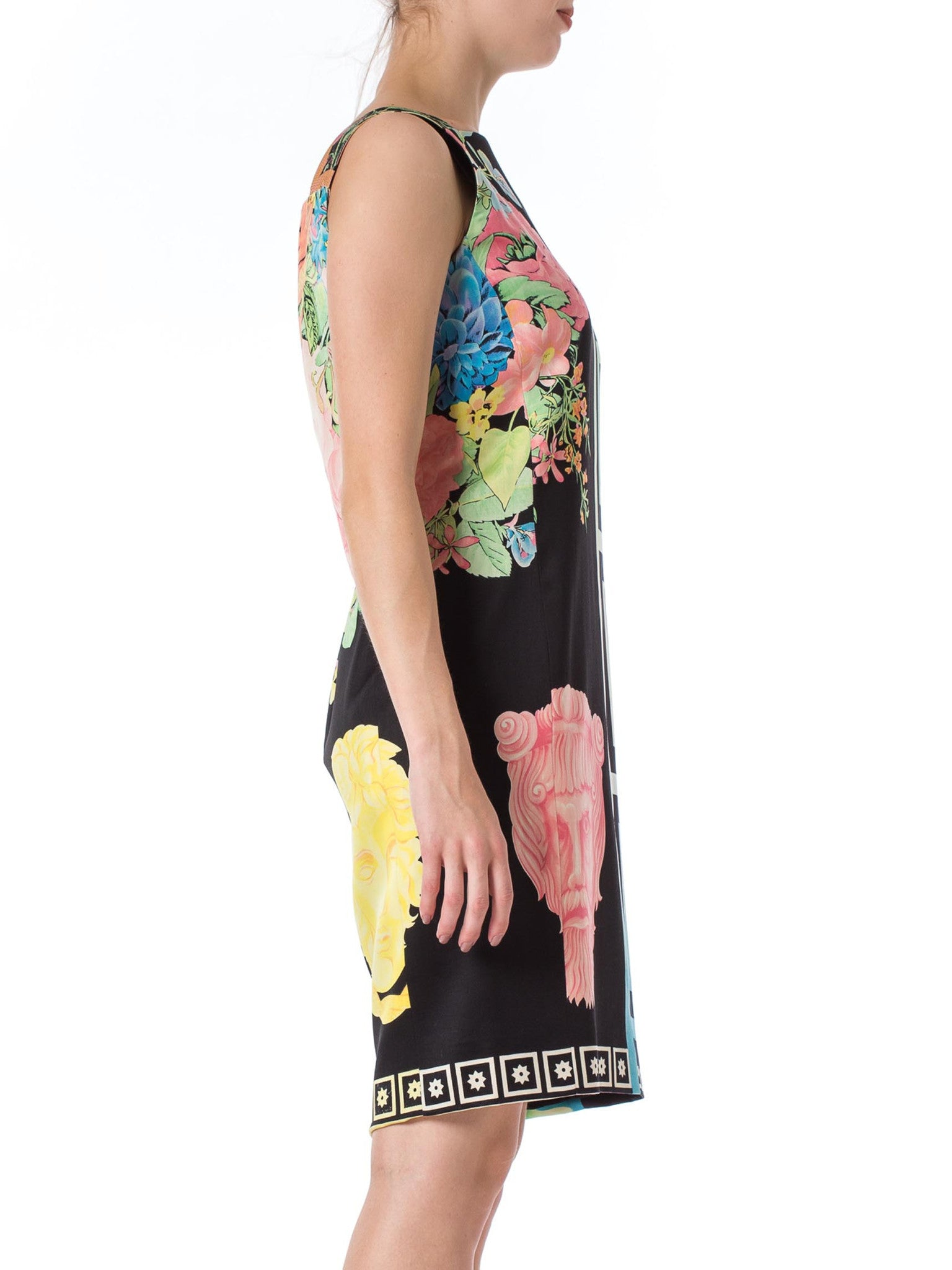 1990S GIANNI VERSACE Pastel & Black Wool Blend Sateen Tropical Floral Dress With Classical Greek Designs