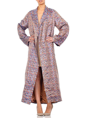1940s Multicolored Silk Jaquard Duster Coat Robe
