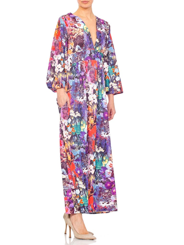 1970S Floral Polyester Jersey Kaftan