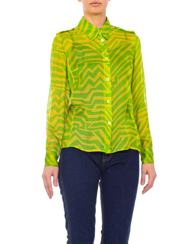 1990s Tom Ford Gucci Lime Green Silk Chiffon Shirt From His First Collection For Gucci