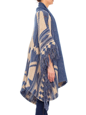 1990S RALPH LAUREN Indigo Blue Wool Blend Hand Knit Poncho With Fringe