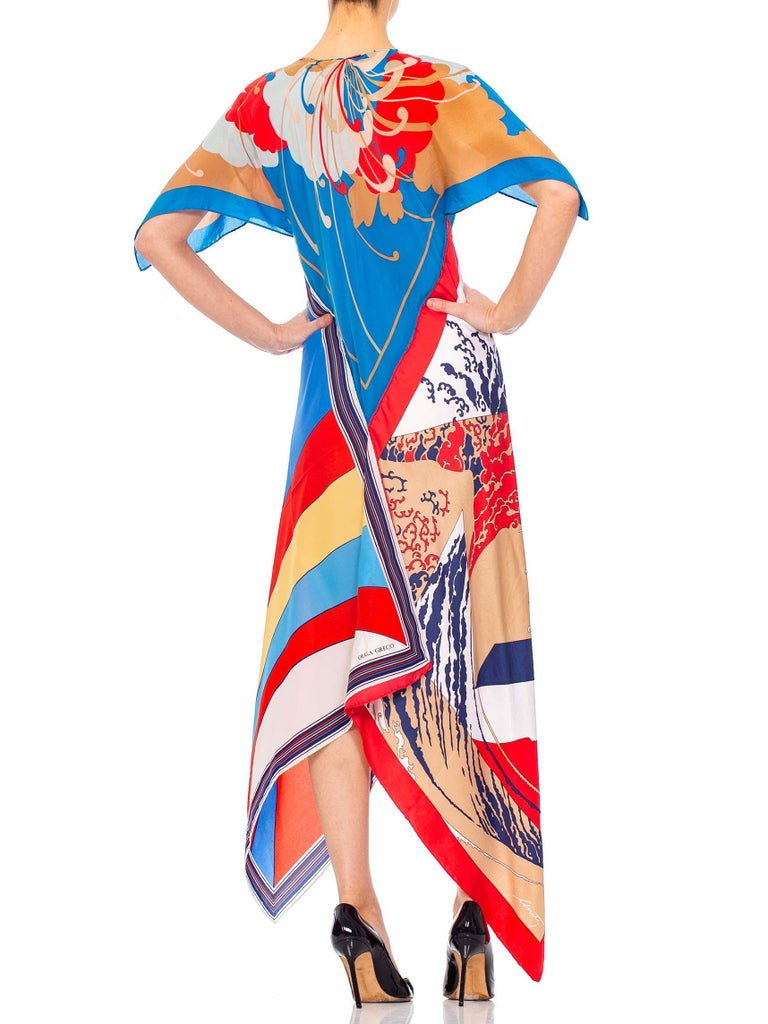 MORPHEW COLLECTION Psychedelic Blue, Beige & Red Kaftan Dress Made From 1970'S Silk Scarves