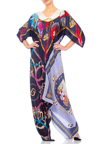 Morphew Collection Status Print Silk Twill Scarf Kaftan Dress Made From 1980'S Gucci Scarves