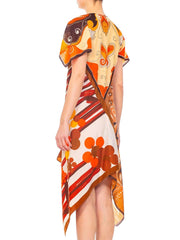 Morphew Collection Brown & Orange Polyester Psychedelic Print Scarf Kaftan Dress