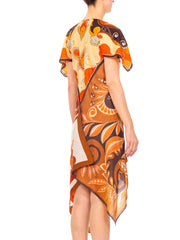 1960S Morphew Psychedelic Polyester Brown & Orange Scarf Dress