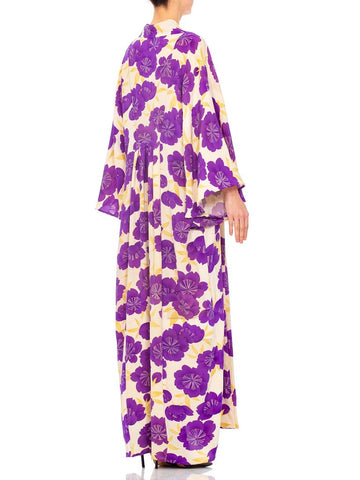1940S Morphew Collection Purple Silk Printed Made From Japanese Kimono  Kaftan