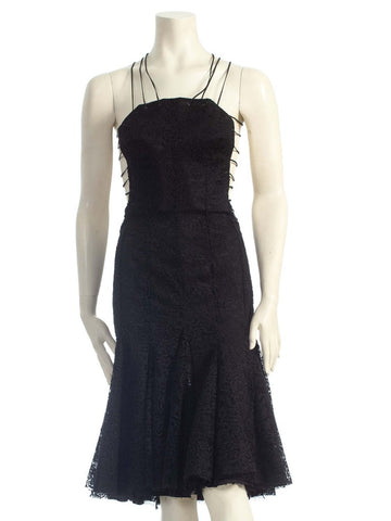 2000s ALEXANDER MCQUEEN Black Backless Rayon & Silk Lace Dress With Shredded Hem