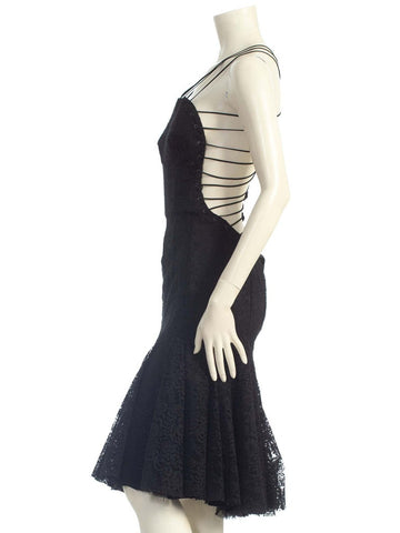 2000S ALEXANDER MCQUEEN Black Backless Rayon & Silk Lace Cocktail Dress With Shredded Hem