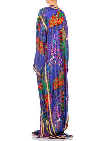 1970S Printed Gold Lamé Silk Extra Long Moroccan Style  Kaftan