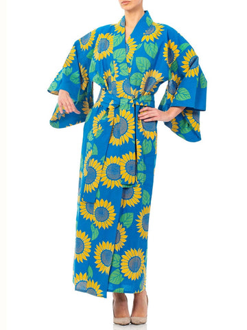 1950S Blue Cotton Kimono Printed With Sunflowers