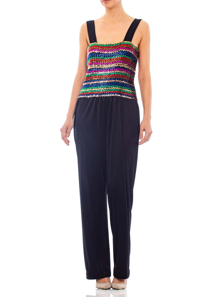 1970S Black Sequined Polyester Jersey Disco Party Jumpsuit With Vest