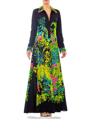 1970s Floral Printed Polyester Jersey Dress