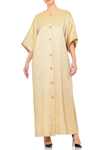 1980s Gold Rayon & Cotton Kaftan Dress