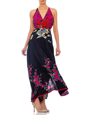 2010s Morphew Black Floral Backless Gown Made From 1920s Silk