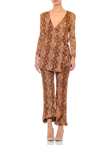 1970S Brown Snake Print Polyester Jersey Wrap Top Ensemble