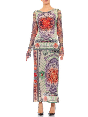 1990s JEAN PAUL GAULTIER Mesh Iconic Money Print Skirt & Top Ensemble