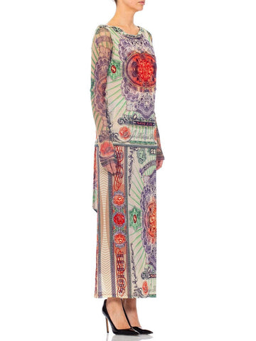 1990S Jean Paul Gaultier Poly Blend Mesh Iconic Money Print Wrap Skirt & Top Ensemble