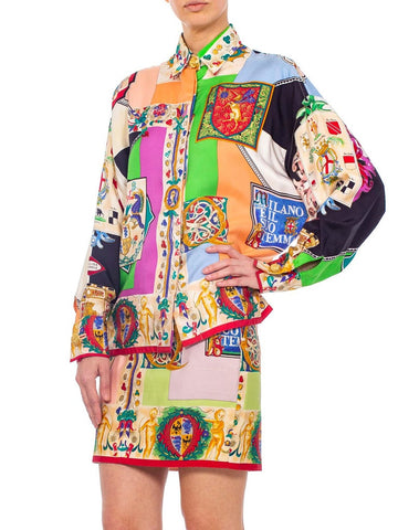 1990S Gianni Versace Silk Blouse & Skirt Ensemble