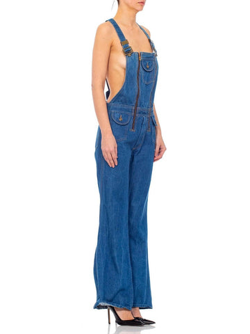 1970S Blue Cotton Denim Jean Overalls