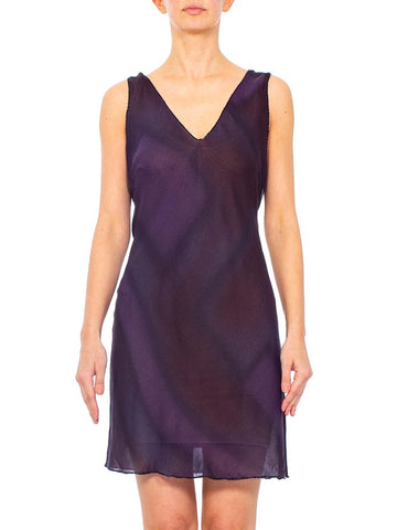 1990s PRADA Purple Beaded Silk Georgette Dress
