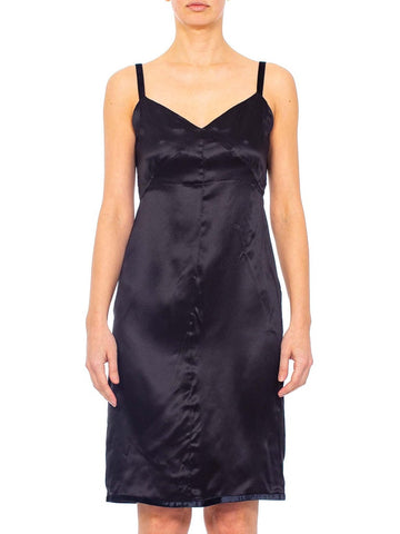 1990s PRADA Black Silk Charmeuse Slip style Dress