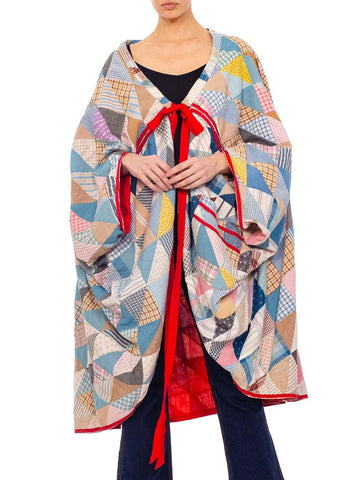 Morphew Collection Multicolor Cotton Patchwork Cocoon Made From An Antique Quilt