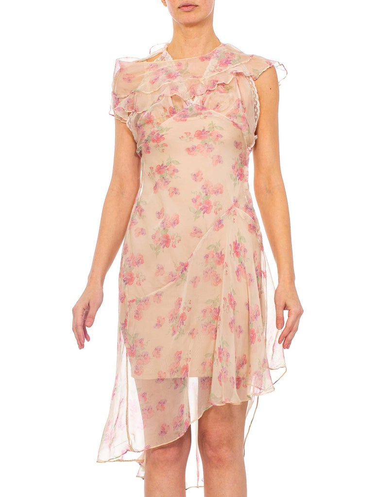 2010s Morphew Baby Pink Floral Silk Chiffon Dress