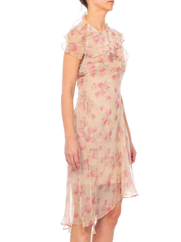 Morphew Collection Baby Pink Floral Silk Chiffon Dress