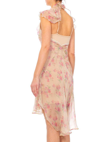 Morphew Collection Baby Pink Floral Silk Chiffon Dress With Ruffle Cape Back