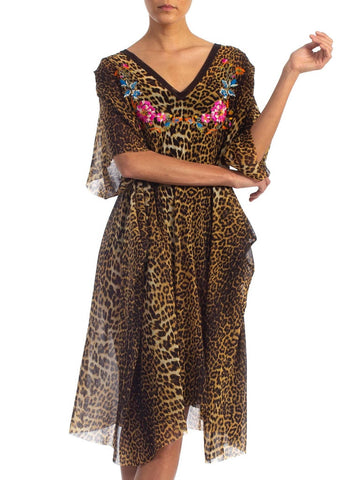 1990S JEAN PAUL GAULTIER Animal Print Embroidered Neck Flowers Nylon Net Kaftan