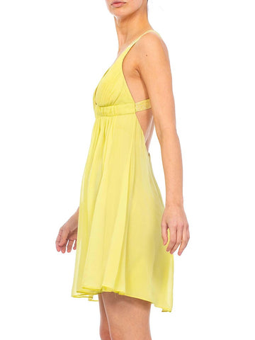 2000s Lime Green Silk Chiffon Cocktail Dress