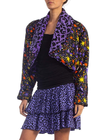 1980S Black & Purple Silk Stretch Body-Con Cocktail Dress With Epic Giant Shoulder Pad Jacket