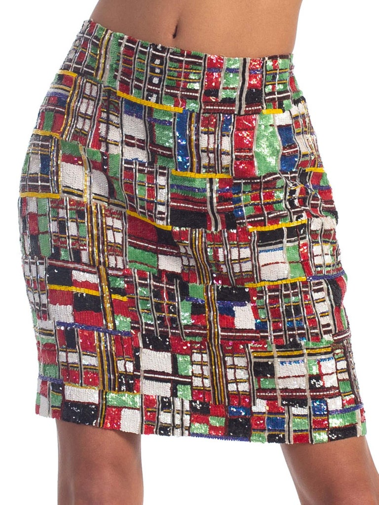 1990S TODD OLDHAM Beaded Silk Mondrian Geometric Plaid Mini Skirt