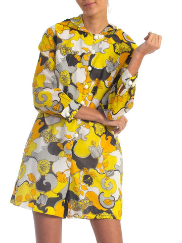 1960S Yellow Cotton Lawn Romper Jumpsuit With Hoodie