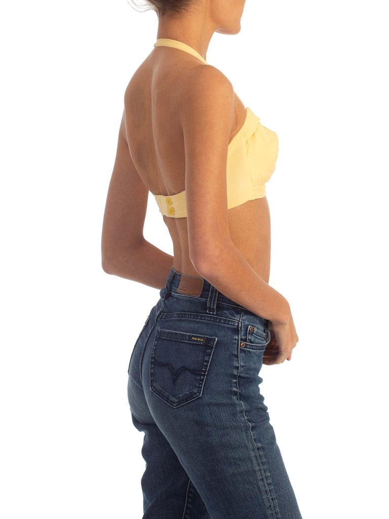 1940S Yellow Cotton Halter Bra Top