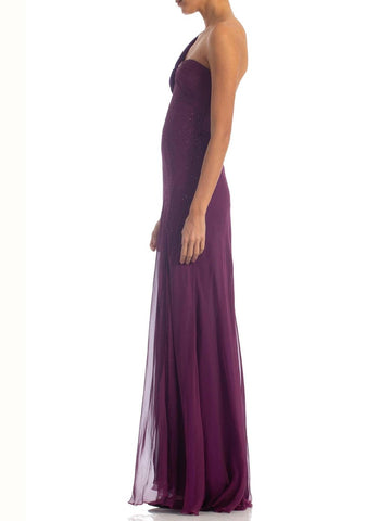 2000S DONATELLA VERSACE Purple Bias Cut Silk Chiffon Crystal Embelished Gown With High Slit