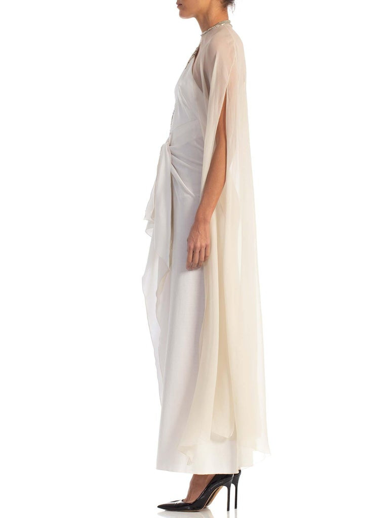 1970S Azzaro White Beaded Jersey Backless Halter Neck Disco Gown With Silk Chiffon Cape