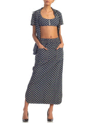 1960s Polka Dot Cotton Plissé Three Piece Bra Top Ensemble
